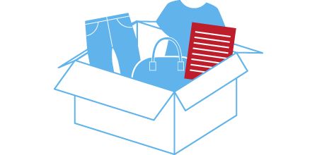 段ボール箱やショッピングバッグに商品と身分証明証のコピーを梱包